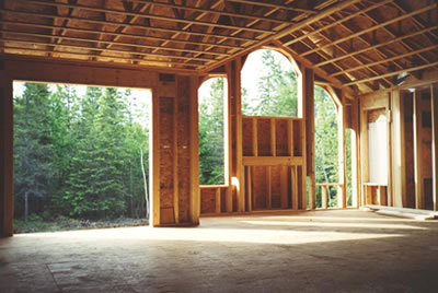 Interior framing of Almonte residence built by David Barr Construction