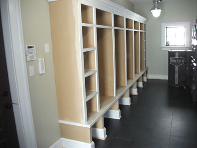 Custom cubbies in mudroom of custom ICF home