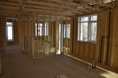 Interior framing of energy efficient ICF home