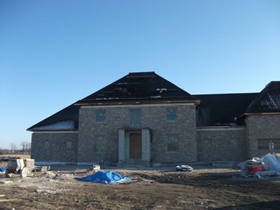 Stone exterior of new ICF home