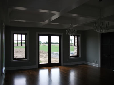 Room with coffered ceiling in ICF home