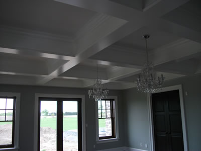 Coffered ceiling in custom ICF home