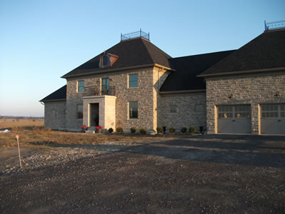 Stone exterior of ICF home
